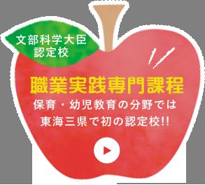 文部科学大臣認定校 職業実践専門課程 保育・幼児教育の分野では東海三県で初の認定校!!